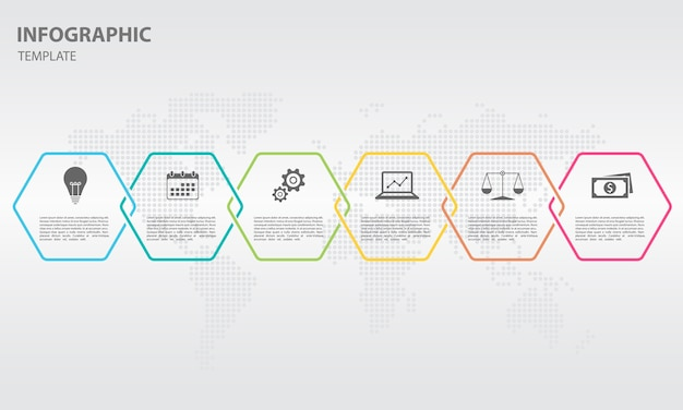 Tijdlijn infographic zeshoek ontwerp 6 opties