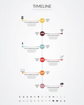 Tijdlijn infographics, elementen en pictogrammen. vector