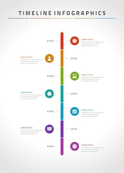 Tijdlijn infographics en iconen vector ontwerpsjabloon.