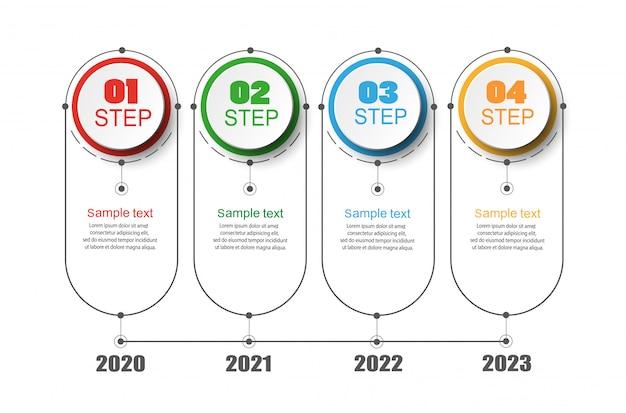 Tijdlijn infographics met 4 nummeropties en stappen