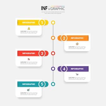 Tijdlijn infographics met 5 stappen