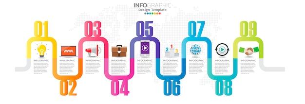 Tijdlijn infographics met stap- en marketingpictogrammen