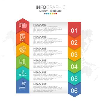 Tijdlijn infographics met zes stappen of opties