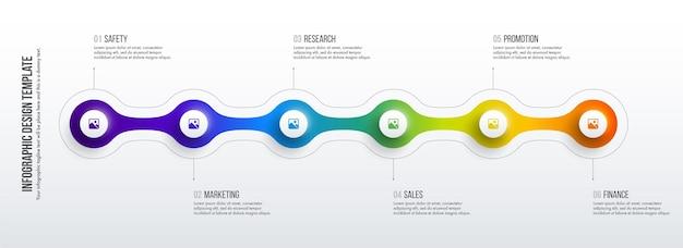 Tijdlijn infographics ontwerp. bedrijfsconcept met 6 opties, stappen of processen.