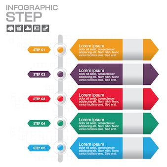 Tijdlijn infographics ontwerpsjabloon met 5 opties, processchema