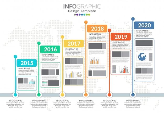 Tijdlijn infographics ontwerpsjabloon met 6 opties, processchema.