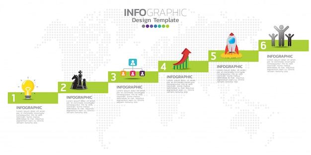 Tijdlijn infographics ontwerpsjabloon met 6 opties