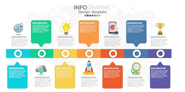Tijdlijn infographics ontwerpsjabloon met 7 opties, processchema.