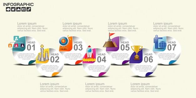 Tijdlijn infographics ontwerpsjabloon met 7 opties.