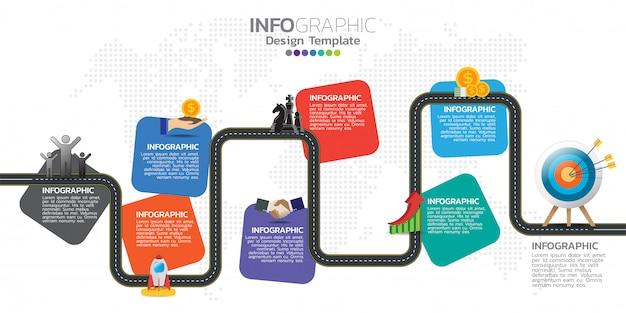 Tijdlijn infographics ontwerpsjabloon met 7 opties