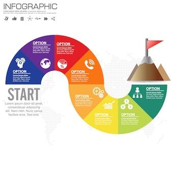 Tijdlijn infographics ontwerpsjabloon met 8 opties, processchema
