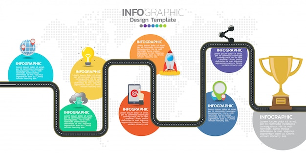 Tijdlijn infographics ontwerpsjabloon met 8 opties, processchema.