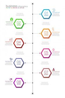 Tijdlijn infographics ontwerpsjabloon met 8 opties