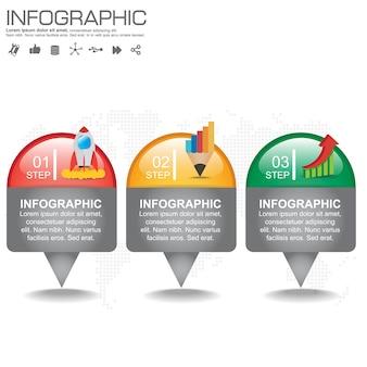 Tijdlijn infographics ontwerpsjabloon met opties, processchema.