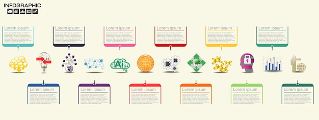 Tijdlijn infographics ontwerpsjabloon met opties, processchema,