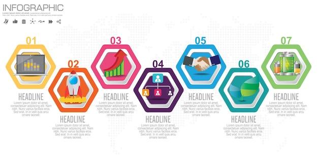 Tijdlijn infographics ontwerpsjabloon met opties, processchema
