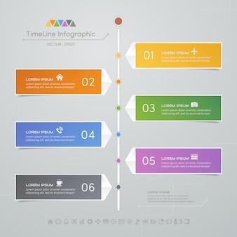 Tijdlijn infographics ontwerpsjabloon met pictogrammen