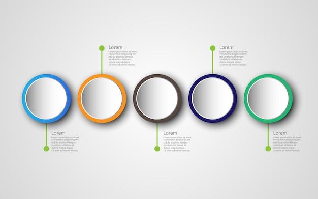 Tijdlijn infographics sjabloon met 5 opties, diagrammen