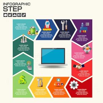 Tijdlijn infographics sjabloon met opties.