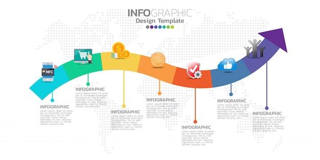 Tijdlijn infographics sjabloon met pijlen