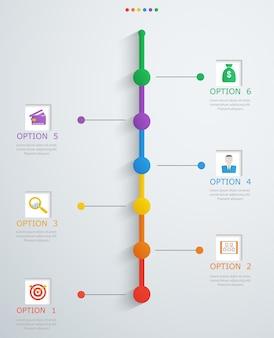 Tijdlijn infographics sjabloon met stapsgewijze structuur