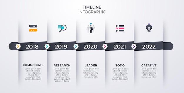 Tijdlijn infographics sjabloon mijlpaal of proces diagram concept