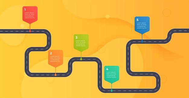 Tijdlijn infographics sjabloon workflow proces grafiek vectorillustratie