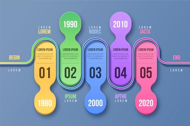 Tijdlijn infographics sjabloonstijl