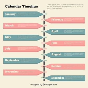 Tijdlijn met een kalender