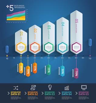 Tijdlijn of infographic met vijf stappen