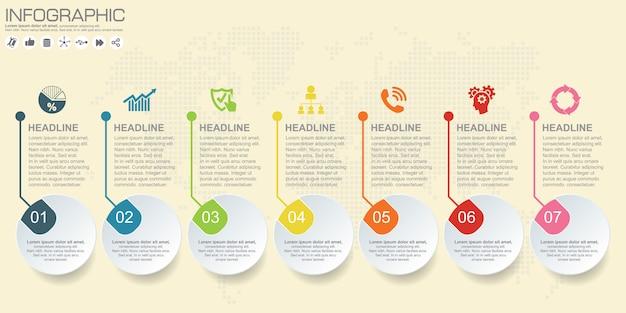 Tijdlijn vector infographic. wereld kaart achtergrond