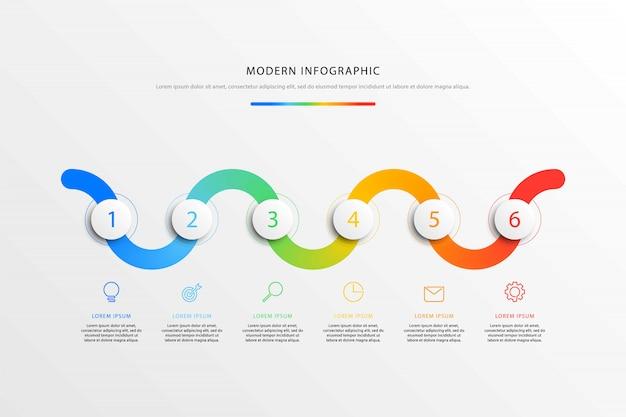 Tijdlijn workflow infographics met realistische 3d ronde elementen en platte lijn marketing pictogrammen