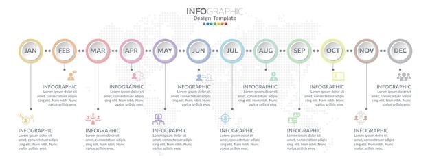 Tijdlijninfographicsontwerp voor 1 jaar, 12 maanden, stappen of processen.