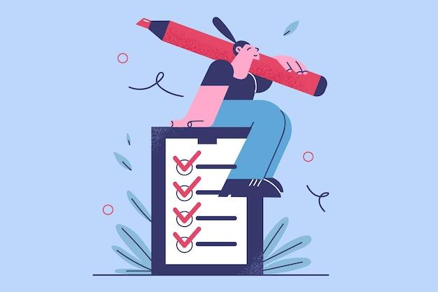 Tijdmanagement, checklist en succesvol zelforganisatieconcept. jonge glimlachende zakenvrouw zittend op grote checklist met marker in de hand blij met het vervullen van alle items in de checklist