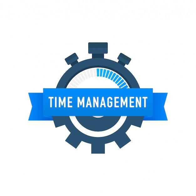 Tijdmanagement label met karakter en tekstplaats.
