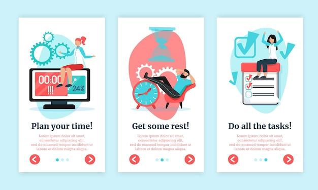 Tijdmanagement platte verticale banners set met taken planning ontspannen werk geïsoleerd gedaan krijgen