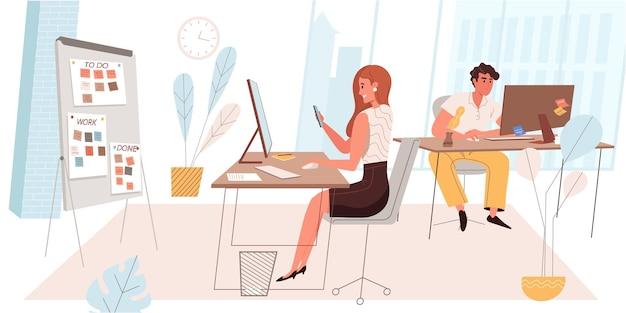 Tijdmanagementconcept in plat ontwerp. collega's werken op computers en voltooien taken op tijd. organisatie van werkprocessen, bereiken van bedrijfsdoelen, mensen op kantoor. vector illustratie