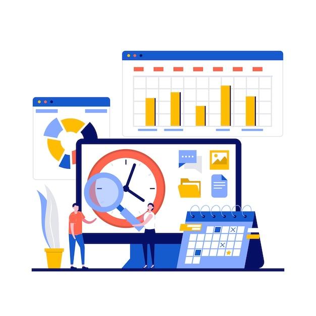 Tijdmanagementconcept met karakter, klok en grafieken.