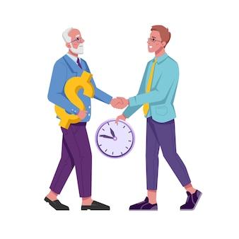 Tijdmanagementuitwisseling tussen oude en jonge man