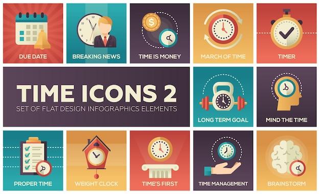 Tijdpictogrammen - moderne set van infographics met platte ontwerpelementen. uitgerekende datum, laatste nieuws, geld, maart, timer, langetermijndoel, geest, gepast, gewichtsklok, eerst, management, brainstorm