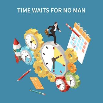 Tijdplanningsconcept met wacht- en deadline-symbolen isometrisch