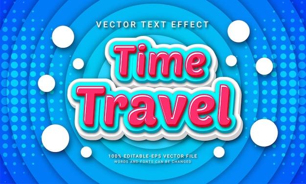 Tijdreizen cartoon bewerkbaar teksteffect met blauw kleurenthema