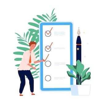 Tijdsbeheer. takenlijst, man en mobiele planning. zelfbeheer online concept.