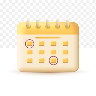 Tijdschema kalender concept geel. 3d vectorillustratie op witte transparante achtergrond