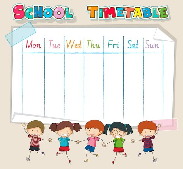 Tijdschema schoolplanning met personages