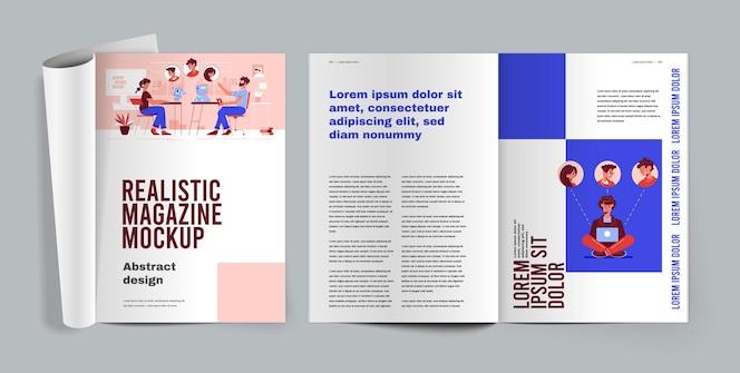 Tijdschrift realistische illustratie met geopende pagina's met artikelen