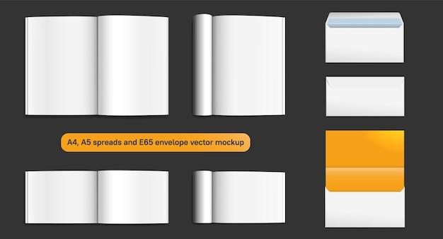 Tijdschrift verspreid mockup set met realistische highlight en envelop e65 sjabloon vectorillustratie