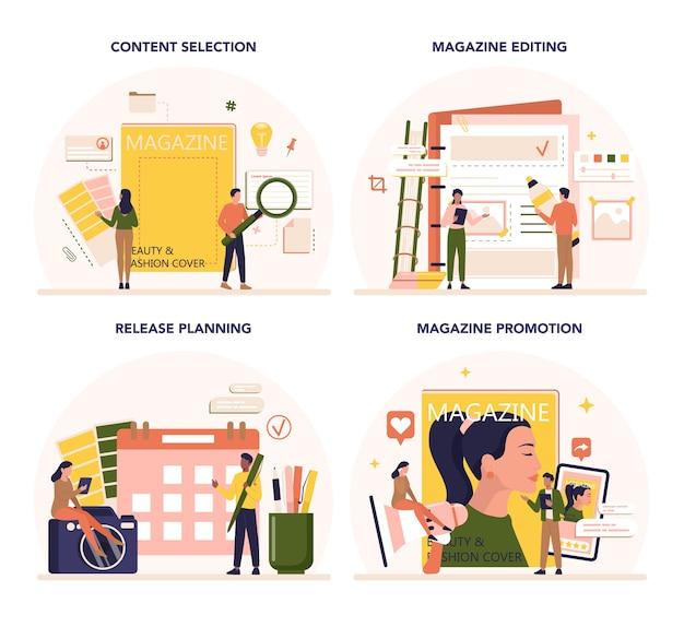 Tijdschrifteditor concept set. journalist en ontwerper die werken aan tijdschriftartikel en foto.