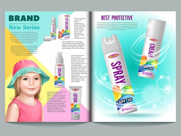 Tijdschriftsjabloon bescherming tegen de zon