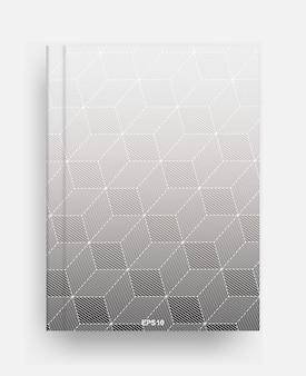 Tijdschriftsjabloon met omslag van halftone geometrische achtergrond. notebook sjabloon dekking voor achtergrond. vector illustratie.